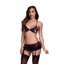 PEEK A BOO STYLE GARTER AND BRA SET