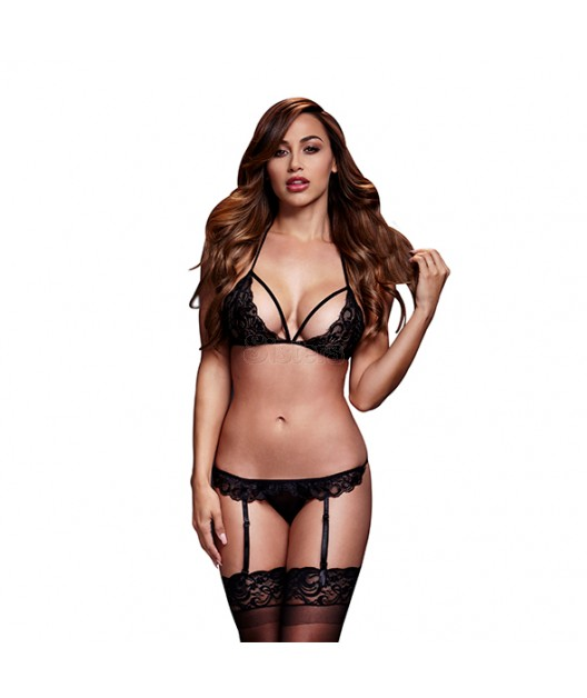 LACY BRA & GARTER SET BLACK